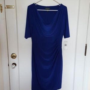 Ralph Lauren cobalt blue drape dress